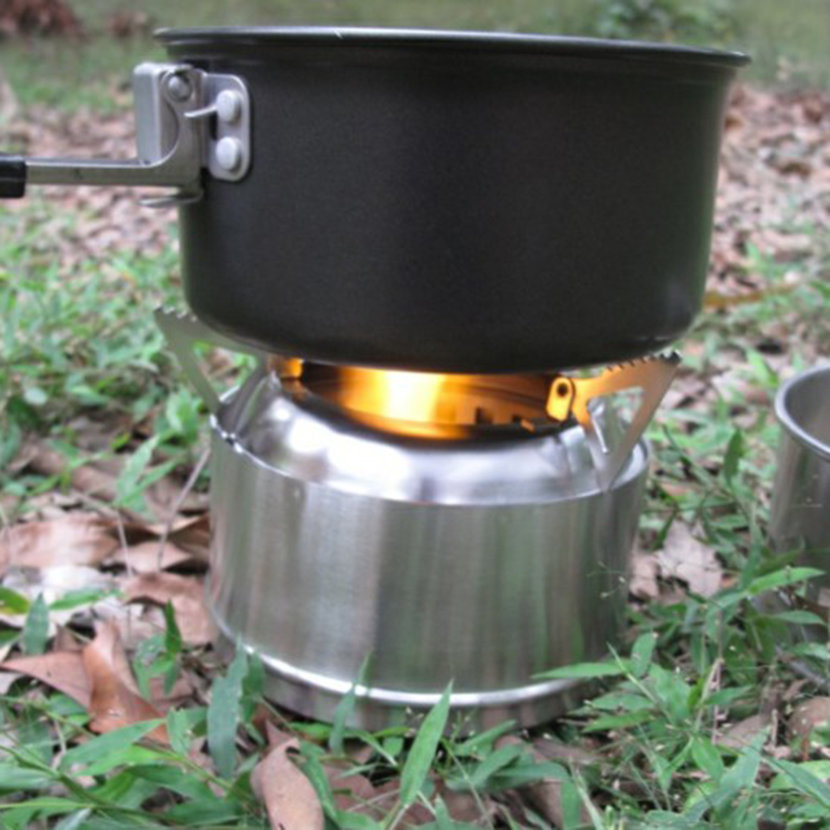 Outdoor picnic cooking camping portable stainless steel for Outdoor wood cooking stove