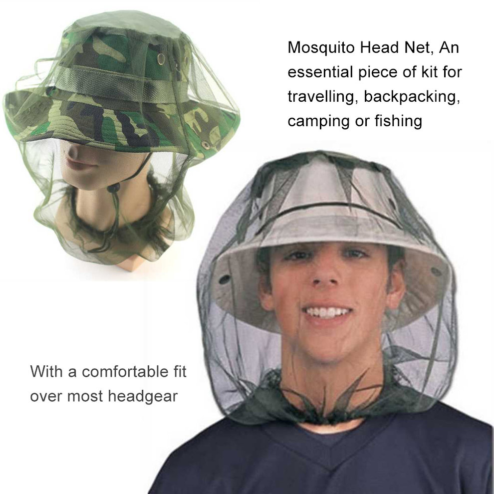 *Mosquito Hat* Face Head Protector Mesh Nets Fishing Hat for Fly Insect Bee New